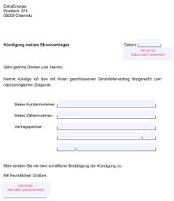 PDF-Kündigungsformular zum kündigen von ExtraEnergie